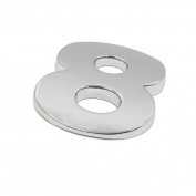 sourcingmap Silver Tone Metal 8 Digital Shaped Car Exterior Emblem Badge 3D Sticker Decor