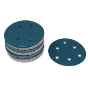 Unique Bargains Sandpaper Auto Car Polishing Sanding Disc Hook and Loop Fastener 6 Holes 50pcs