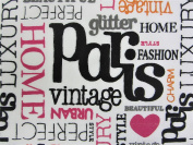 Paris Words 100% Polyester (FLAT SHEET ONLY) Size TWIN Girls Kids Bedding