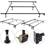 Metal Bed Frame Adjustable Queen Full Twin Size W/ Centre Support