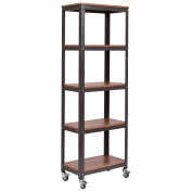 5 Tier Rolling Bookcase Rack Storage Display