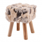 Faux Fur Square Footstool with 4 Wooden Solid Legs