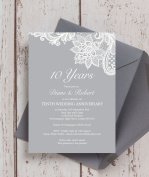 Personalised Vintage Lace Wedding Anniversary Invitations with Envelopes