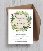 Personalised Floral Wreath Wedding Anniversary Invitations with Envelopes