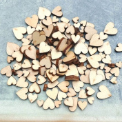 Bodhi2000® 100Pcs 4Sizes Wooden Love Heart Embellishment for Wedding Table Scatter Decoration DIY Craft