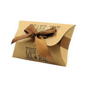 Vikenner 50 Pcs Natural Kraft Paper Candy Gift Packing Pack Boxes Vintage Pillow Boxes with Ribbon for Wedding Birthday Party - 11*6.5*2cm