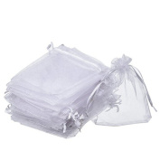 Vikenner 100 Pcs Organza Gift Bags Wedding Party Favour Bags Drawstring Jewellery Pouches Wrap Candy Food Packaging Bags - White