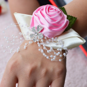Rose Flower Wrist Corsage Beautiful High-End Cloth Style Wrist Corsage Bridesmaid Bracelet Hand Flower For Wedding Party