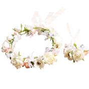 Bridesmaid Wrist Corsage Beautiful Pastoral Bride Headdress Jewellery Wrist Corsage Hand Flower Bracelet Headband Wedding Party Gift