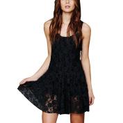 Buimin Fashion Women's Sexy Sleeveless Flower Lace Dress Mini Skirt