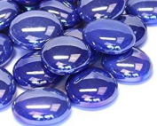 STONED® 100 Approx. Blue Opalescent Round Decorative Glass Pebbles / Stones / Beads / Nuggets 17 -20 mm