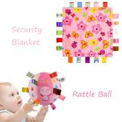 INCHANT Baby Girl Gift Set - Pink Flower Plush Comfort Blanket and Stuffed Rattle Ball for Newborn