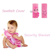INCHANT Children Baby Seat Belt Cushion Shoulder Pad Seat Strap Cover + Embroidered Comforter Blanket With Colourful Tags, Pink