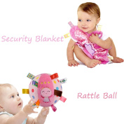 INCHANT Soft Stuffed Rattle Ball Toy with Taggies Comfort Security Blanket Gift Set for Baby Girl