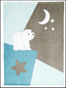 Shade with Snowflake Design 100% Polyester Microfibre Brown and Blue Bear Cover 100 x 140 cm