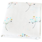 "LifeTree Baby Muslin Swaddle Blanket - ""Dandelion Print"" Bamboo Cotton Baby Swaddle Wrap, Burping Cloth & Stroller Cover - Gender Neutral Baby Girl or Baby Boy Blanket"