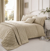 NATURAL WHITE BEIGE FLORAL PIPED EMBROIDERED DOUBLE (PLAIN CREAM FITTED SHEET - 137 X 191CM + 25) 4 PIECE BEDDING SET