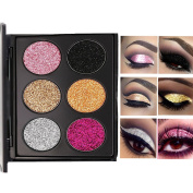 Sparkly Glitter Eyeshadow Palette 6Color/Set No Glue Needed Waterproof Long-lasting Black/Sliver/Gold/Pink/Rose-Gold/Champagne Glitter Eyes Eyeshadow Pigment by TOBEAUTY