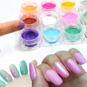 12 Colour 1g/Bottle New Colourful Mermaid Effect Nail Glitter Nail Art Decoration Tip Sparkly Powder Dust Nail Tool