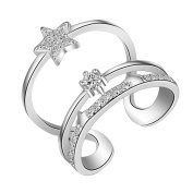 AIUIN Three Stars Open Silver Ring Crystal Adjustable Wedding Jewellery for Women X 1Pcs