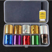 DRESS® Nail Art Transfer Foil 10 Colours Glitter Sticker For Nail Tip Decoration & Star Glue Set