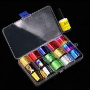 IGEMY Nail Art Transfer Foil 15 Colours Sticker For Nail Tip Decoration & Star Glue Set nail art transfer stickers