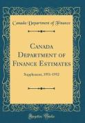Canada Department of Finance Estimates