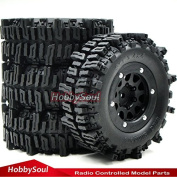 """4pc RC 1.9 Mud Slingers Crawler Tyre 93mm W/ 1.9"""" Beadlock Rim For RC 4WD Axial"""
