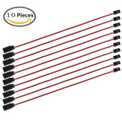 MakerFocus 10pcs Servo Extension Cable Lead Wire 320mm 12.59inch 3 Pin Cord Male to Female JR Plug for RC Plane
