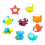 Bath Toys, Chickwin Squirts Bath Toys Organiser Set Spray Floating Ocean Animal Toy for Baby Kids Bath Play Water Pool Tub Beach Toy 9 Pack
