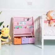 Costway Wooden Kids Bookshelf Children Toy Storage Bookcase Rack Book Playroom Organiser