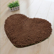 Hughapy Super Soft Lovely Heart Love Shaped area rug,Anti-skid Chenille Door Mat christmas carpet for Home Bedroom 50cm60cm with 10 colours,Coffee