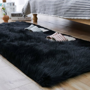 Carvapet Luxury Soft Faux Sheepskin Fur Area Rugs for Bedside Floor Mat Plush Sofa Cover Seat Pad for Bedroom, 0.7m x 1.5m,Black