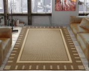 Ottomanson Jardin Collection Brown Contemporary Bordered Design Indoor / Outdoor Jute Backing Area Rug