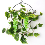 YILIYAJIA 2PCS Artificial Grapes and Vines,Fake Garlands with Greenery Ivy Leaves,Hanging Plants and Fruits for Home Garden Courtyard Decoration