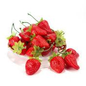 Dinopure Artificial Strawberries 30pcs Fake Strawberry Artificial Fruits Lifelike Red Strawberry For Decoration Arrangements Home House Kitchen Decor