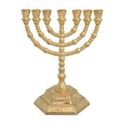 13cm Small 7 Branch Hexagonal Base 12 Tribes of Israel Menorah by Bethlehem Gifts TM