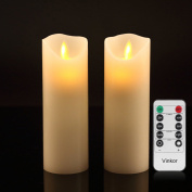 Vinkor Flameless Candles Flickering Flameless Candles Set of 2 Decorative Flameless Candles