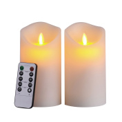 Pandaing 8.3cm x 15cm LED Flameless Candles with 10-Key Remote Control - 2/4/6/8 Hours Timer, Classic Pillar Moving Flame Real Wax Candles, Battery Powered, Ivory Colour, Set of 2