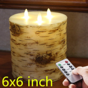 Flameless Candle, 15cm x 15cm Remote & Timer 3 Wicks Wax Birch Bark Effect Flat Top LED Candle with 3-C Batteries operated 500 hours