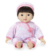 You & Me 36cm Chatter and Coo Baby Doll - Asian Girl in Pink Heart Pattern
