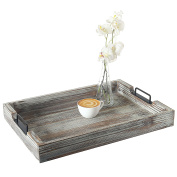 Distressed Torched Wood 50cm Serving Tray with Modern Black Metal Handles