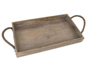 Dwellbee Rustic Wood Serving Tray with Rope Handles