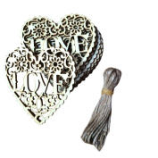 Gallity 10 Pcs Wood Christmas Tree Ornament Rustic Wooden Love Heart Hanging Pendant Home Decor Gifts DIY Crafts