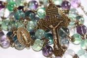 Large Fluorite and Bronze 10mm 5 Decade Bead Rosary made in Oklahoma