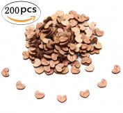 FIVOENDAR 200pcs Rustic Wooden Love Heart Wedding Table Scatter Decoration Crafts