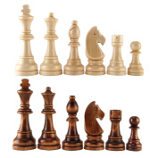 Amerous Chess Pawns Wooden Chessmen with 12cm King Nature Wood Chess Pieces Hand Carved Figure Figurine, French Staunton Style