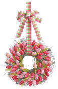 50cm Spring Front Door Tulip Wreath, Artificial Spring Tulips with Plaid Hanging Ribbons on a Natural Twig Base