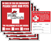 Hot Dog Collars US Made Pet Alert Rescue Pack, Window Stickers (4) & Wallet Cards (2) Keep Pets Safe in Emergency