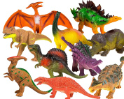 Toysery Realistic Looking Dinosaurs Toys Set for kids - Plastic Assorted Dinosaur Toys Figures - Pack of 10pcs, 13cm ""